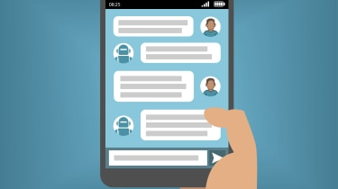 An artist's impression of a digital assistant or chat bot on a smartphone