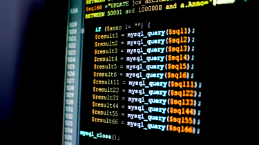 Rows of SQL code on a computer screen