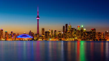 Toronto waterfront at night