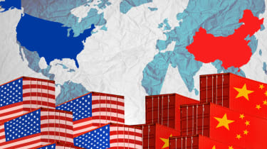 Illustration depicting the ongoing US-China trade war