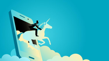 Man riding a unicorn coming out of a smartphone