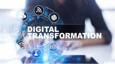 """Digital transformation"" in front of a person in an office"
