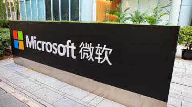 Microsoft's China logo next to its building
