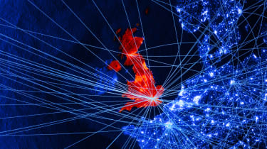 The UK in red and the EU in blue as seen in a digitised map