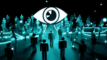 A massive eye overseeing a dark room full of individuals