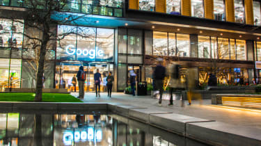 People entering and exiting Google's Kings Cross offices