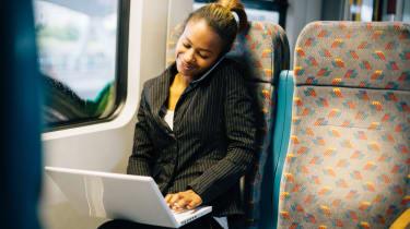 Woman working on train