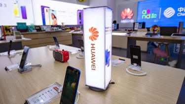 Huawei smartphones on display in a Shanghai retail store