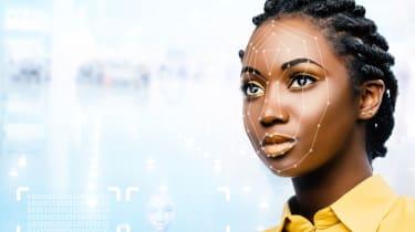 girl having her face scanned