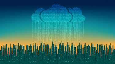 Illustration of a code cloud raining over a city