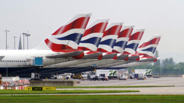 A line of British Airways aeroplanes