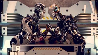 Two machine robots arm wrestling