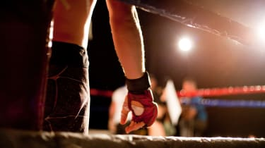 Image of a fighter getting ready for a boxing match