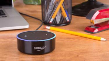 Alexa speaker sitting on a desk