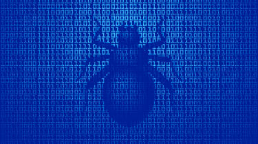 A depiction of a bug on a blue binary background