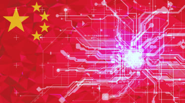 Chinese flag merged with a circuit board