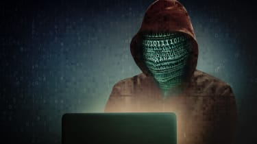 Dark web person with code for a face