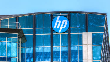 HP logo on the front of a glass building