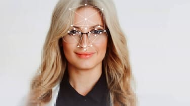 Woman's face being scanned
