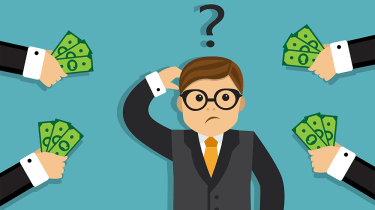 businessman confused or unsure about money and investment
