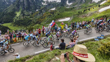 A picture of the Tour de France in progress
