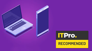 Abstract image of a tablet and laptop on a purple background