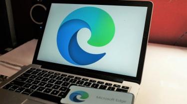 New Microsoft Edge logo on a computer screen