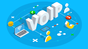 Digital illustration of the word VoIP surrounded by telephony equipment