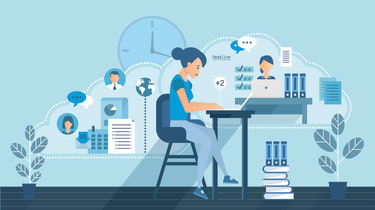 An illustration of a woman working from home while still collaborating with colleagues and customers via the cloud