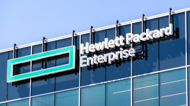 Hewlett Packard Enterprise (HPE) logo on a glass building