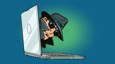 A graphic of a 1950s-style spy peeping out of a laptop