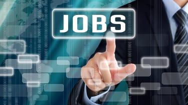 A man clicking on a jobs button