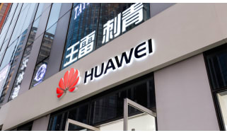 Huawei logo on the front of a building