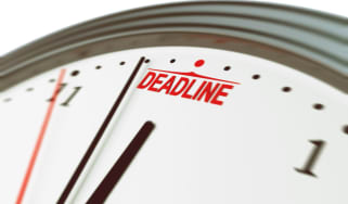 Clock approaching deadline time