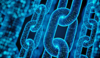 A depiction of a chain made up of blue binary code