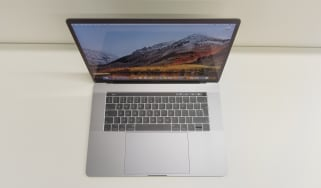 Aerial shot of the Apple MacBook Pro 15in (2018) showing the keyboard and Force Touch trackpad