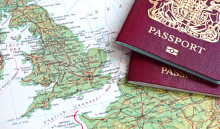 Passports on a map