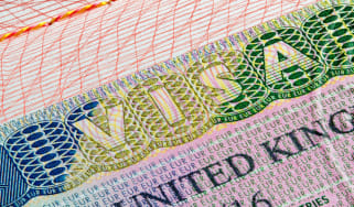 UK visa stamp on passport