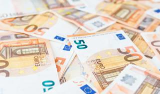 A pile of 50 euro bank notes