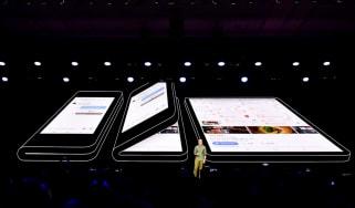 Keynote presentation of folding Samsung phone from DevOps event
