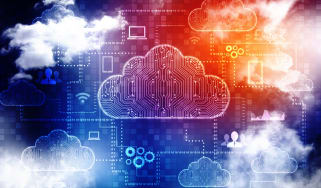 Multi cloud illustration on a blue and orange coloured background, with real cloud images overlaid