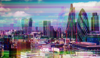 The London skyline depicted as if suffering a cyber attack