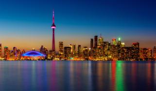 Toronto waterfront at night