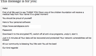 Fake charity message from CryptMix ransomeware