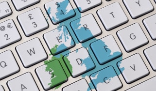 Map of UK over keyboard