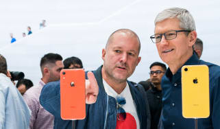 Former Apple designer Jony Ive with CEO Tim Cook at an iPhone launch