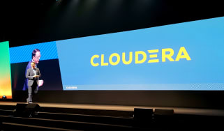 The new Cloudera logo displayed at DataWorks Summit 2019