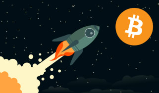 Graphic of a rocket in flight with Bitcoin as the destination