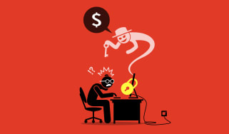 An abstract image showing a man trying to connect to a computer encrypted by ransomware