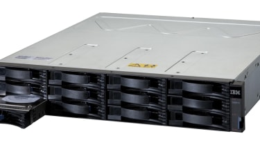 IBM System Storage DS3512 Express with its front left disk tray sticking out